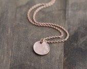 Simple Tiny Rose Gold Disc Necklace / Minimalist Rose Gold Everyday Jewelry by burnish