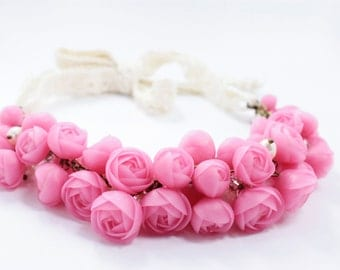 Pink Ranunculus Bib Necklace Floral Flower Women Statement Chunky Necklace Crown Hair Accessory Decor Wedding Bridal Christmas Gifts