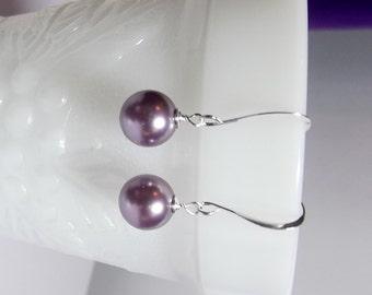 SET 5 Pairs Swarovski Mauve Purple Pearl Earrings, Wedding Bridesmaid Maid of Honor Jewelry Gifts Favors , Cocktail Wedding Jewelry