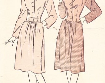 Two Piece Dress Womens 1940s Vintage Sewing Pattern Advance 4370 Bust 31.5