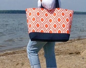 "EXtra Large Tote Bag - Tangerine Orange & Navy - ""Family Size"" Canvas Beach Tote Bag"