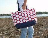 "Extra Large Tote Bag - ""Family Size"" Canvas Tote Bag in Red & White Polka Dot"