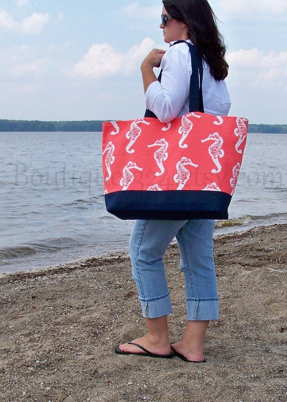 EXtra Large Tote Bag Coral Seahorse & Navy Family