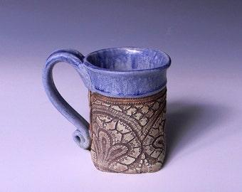 Handmade Ceramic Lace Impressed 12oz. Mug