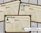 Retro Recipe Card Set of 3 4x6 Recipe Cards 3X5 Printable Retro Kitchen Women 3 Sizes