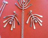 1970's Avon Convertable Windchime Pierced Earring and Necklace Set