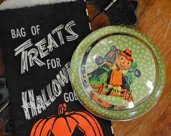 Vintage Halloween - Vintage Paperweight - Vintage Dennison Scarecrow Seal - Glass Paperweight - Collectible