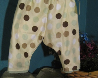 Yellow Polka Dot Reversable Puffy Pants