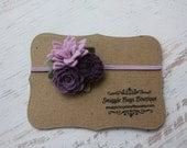 Mixed Felt Flower Bouquet in Purples - Fall Flower Headband - Photo Prop - SBB Original