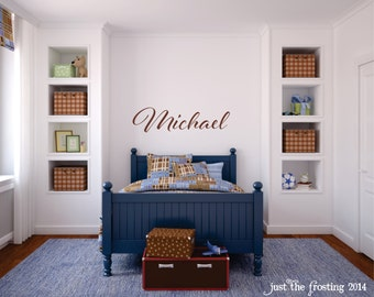Boys Name Wall Decal, Childrens Decor Vinyl Name Wall Decal, Monogram Name Decal, Nursery Wall Decal, Vinyl Lettering, Vinyl Wall Art