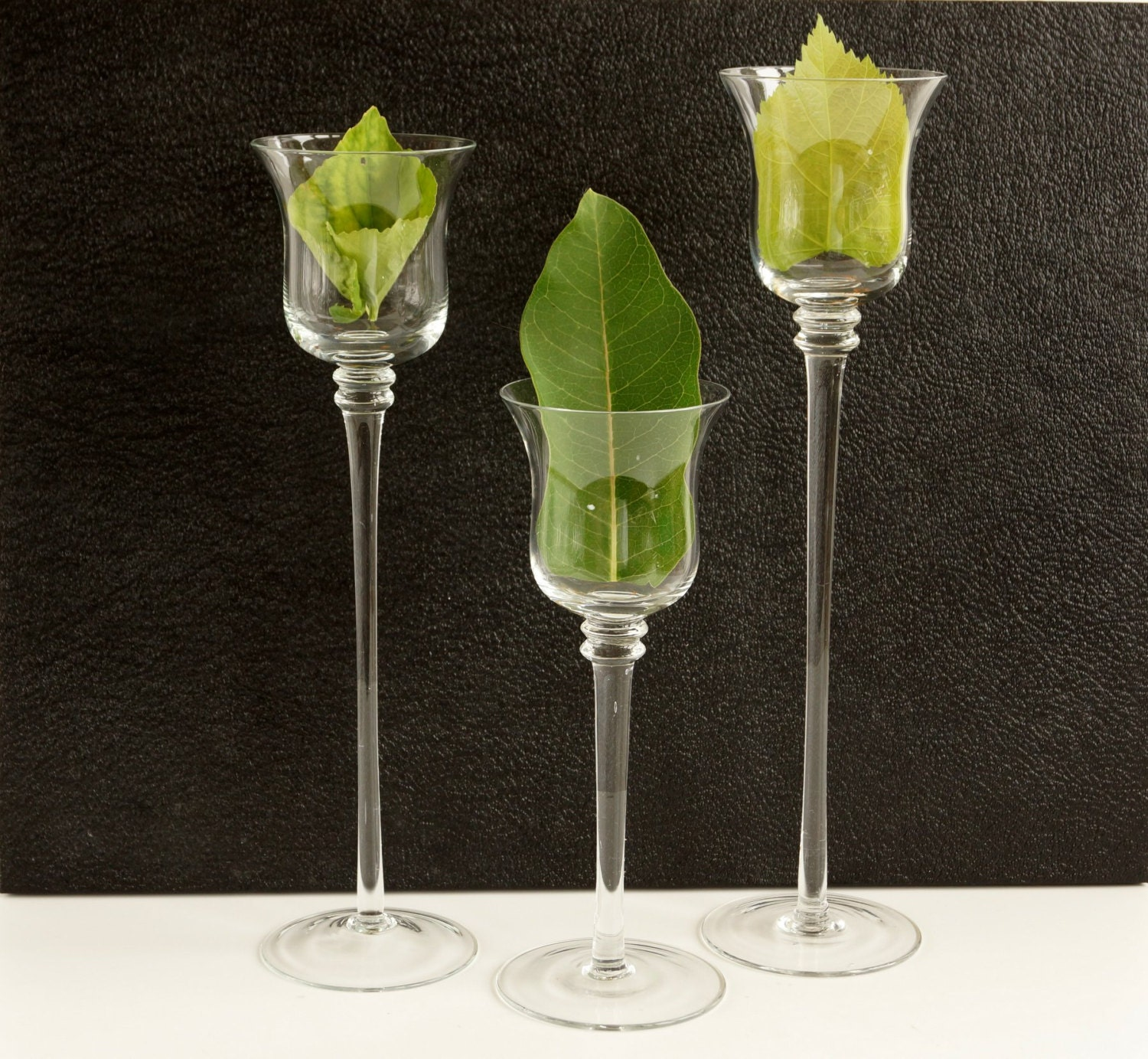 Vintage Tall Glass Candle Holders Vases In Varying Heights