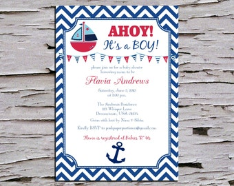 Ahoy Its a Boy - Nautical Baby Shower Invitation - Red White and Blue