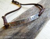 "Handmade ""Soul Sister"" Tag Bracelet - Fine Silver - Leather - OOAK"