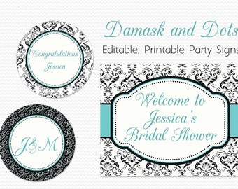Welcome Signs, Damask and Dot Bridal Shower Decor, Wedding, Birthday Party Decoration, Robin's Egg Blue -- Editable, Printable, Instant
