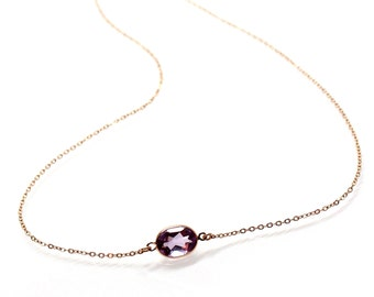 14k Solid Gold Purple Amethyst Solitaire Necklace - Small Gemstone Necklace  - February Birthstone Necklace - Valentine Gift