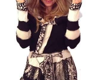 Black and white surprise Elf hoodie sweater coat by Hope Floats Upcycled
