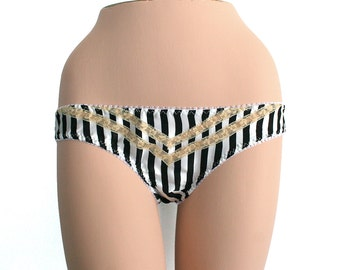 Panties Lingerie Silk Lace Underwear / Black White Cream Chevron Flowers Charmeuse Vintage / Extra Small - Lydia Knickers