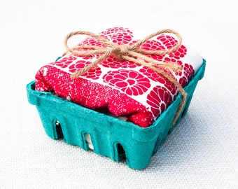 Raspberry Basket Flour Sack Dish Towel