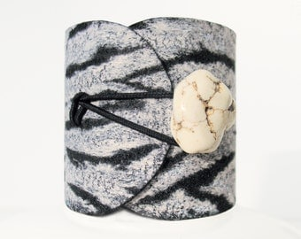Tree Bark, felted silver silk bracelet