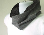 Mens Scarf in Black and Gray Glen Plaid Reversible to Black Denim Knit Businessman's Infinity Scarf Handmade by Thimbledoodle