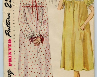 1950s Simplicity 3388 Vintage Sewing Pattern Misses' Nightgown in Two Lengths and Bed Jacket Bust 42