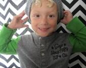 Kids Heather Gray Crochet Slouch Hat