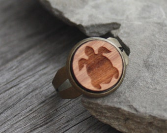 Wood Turtle Ring - Cherry Wood Laser Engraved Turtle - adjustable ring, brass ring, totem ring, woodland ring, wood ring, sea turtle