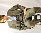 80's Mens Suit 3 Three Piece Suit 42R Brown Herringbone Wool Vintage Wedding Business Suit