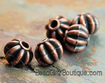 """Antiqued copper-finished """"pewter"""" (zinc-based alloy), 8mm fluted round bead -20"""