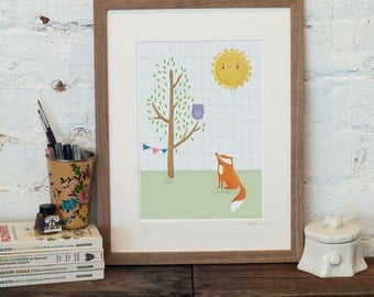 Owl and Fox Print - Fox Nursery Decor - Woodland Nursery Print - Gift For Baby Girl - Gift For Baby Boy - Childs Bedroom Print - Fox Print