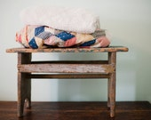 Chippy Turquoise Primitive Bench Stool