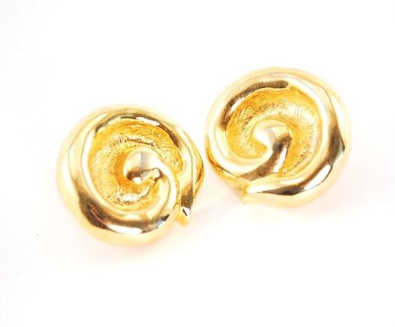 Vintage Spiral Earrings, Chunky Gold Earrings, Big Large Gold Earring, Round Circle Gold Earrings, Clip-on Earrings, 1980s Statement Jewelry