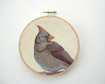 Hoop Art - Bird Painting - Female Cardinal Bird Painting - Original Acrylic Painting on Embroidery Hoop - Woodland Wall Art