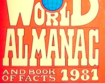 Vintage 1981 Edition of the World Almanac and Book of Facts, Ronald Reagan, 1980 Presidential Election Returns, Gift For Him, Christmas