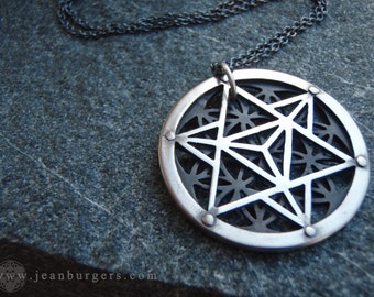 Star Tetrahedron and Flower of Life Pendant - Oxidised White Bronze - Sacred Geometry