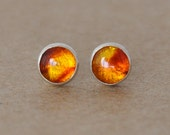 Amber Earrings handmade with Sterling Silver Earring Studs, 5mm Gemstone golden Amber stud earrings, silver studs, amber jewelry, gifts, 925