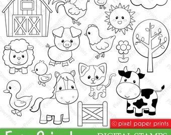 Farm Animals- Digital Stamps