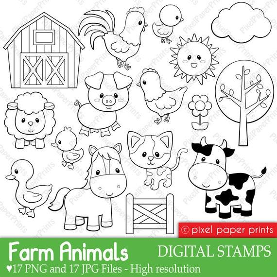 Farm Animals Digital Stamps By Pixel Paper Prints