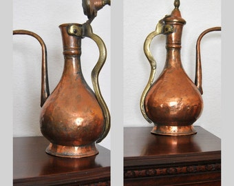 SALE 15%OFF Antique Copper Ewer Hammered 16 inch Pitcher Pot Jug Finials Ottoman Flagon Tall Round Amphora 1920s Rare find French decor