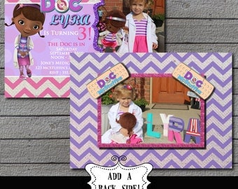 Doc McStuffins Birthday Photo Invitation Digital file