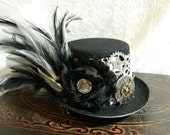 ABOUT TIME - Mini Top Hat - fascinator, hair clip, Steampunk hat, photo prop, costume accessory, Halloween accessory