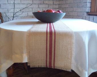 Farmhouse Table Runner 10 x 72 or 10 x 84 with Stripes, Choice of Colors, Burlap Table Runner, Grain Sack Style, Country Farmhouse Decor