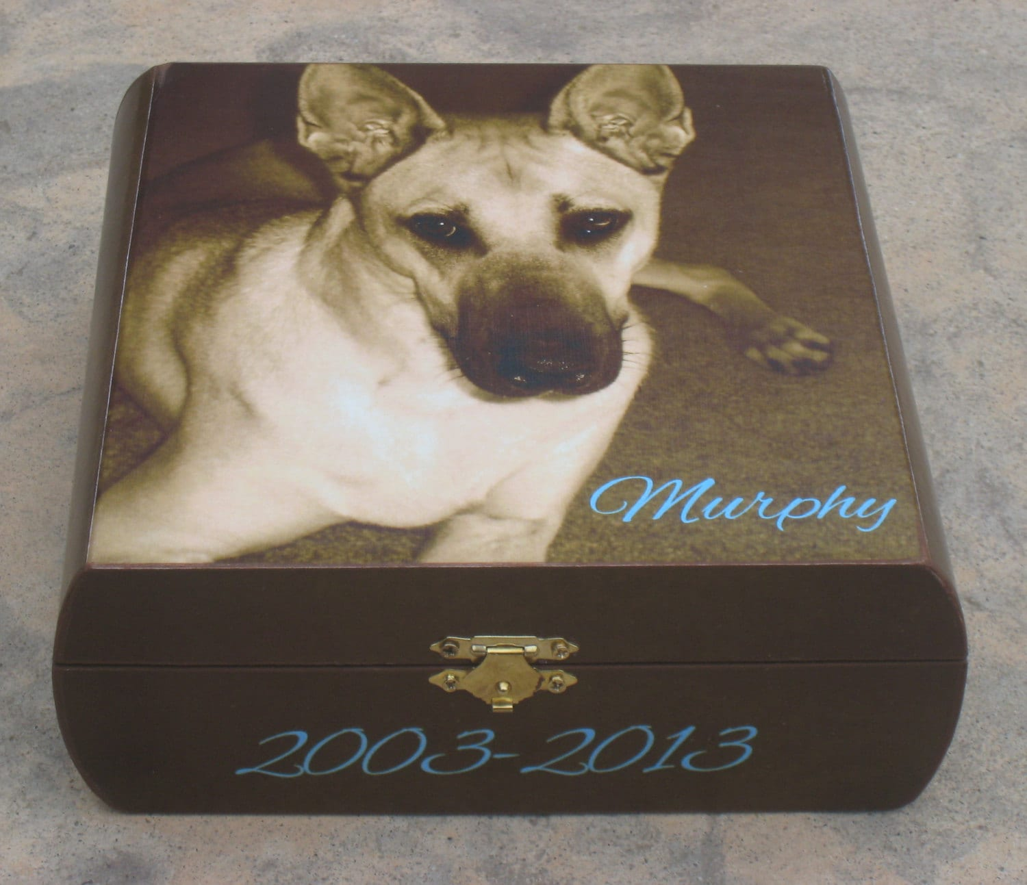 Pet memorial keepsake box pet urn personalized photo for Unusual dog gifts