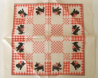 Scottie Dog Paper Tablecloths 1950s Disposable Party Supplies Red White Gingham Bridge Table Cloth