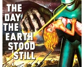 "The Day the Earth Stood Still - Classic Sci Fi Movie Poster Print  13""x19"" - Vintage Movie Poster - 50s kitsch - Gort the Robot"