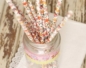 15 Floral Paper Straws