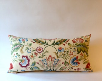 Vintage Decorative Bolster Pillow - Vintage Pindler and Pindler Print - Yellow & Gray Chevron Print Backing- Invisible Zipper