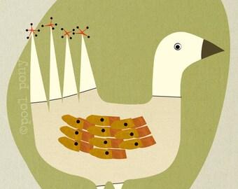 snow goose - LARGE mid century design art print