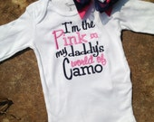 I'm the pink in my daddy's world of camo bodysuit with pink and navy plus matching hair bow with anchor