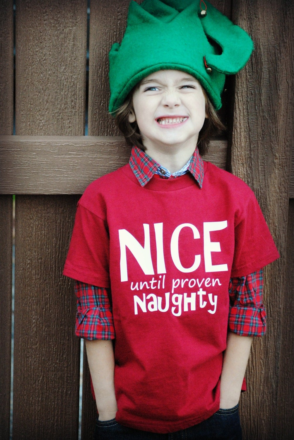 Kids Christmas Nice until proven Naughty t-shirt